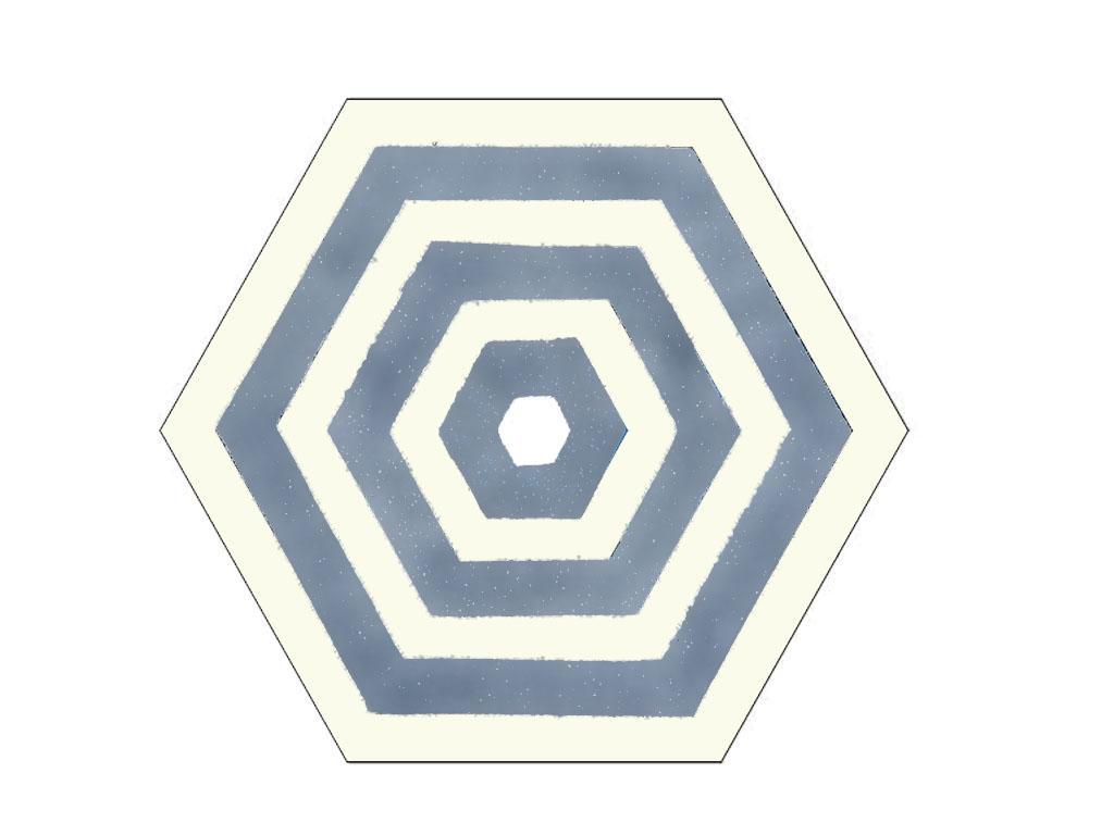 Mavi-Beyaz Altigen Karo Mozaik