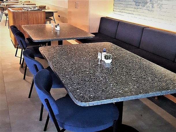 80x130 cm Siyah Terrazzo Masa